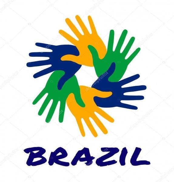 Mão De Seis Coloridos Imprimir O Logotipo Usando Cores De Bandeira
