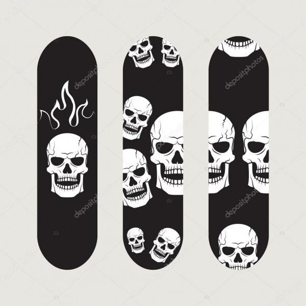 Conjunto De Desenhos De Skate — Vetores De Stock © Megavic93
