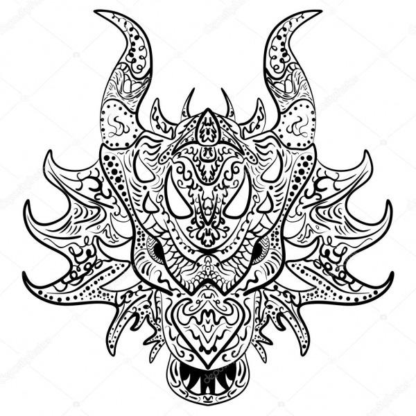 Cabeça De Dragão Desenho Preto E Branco Zen