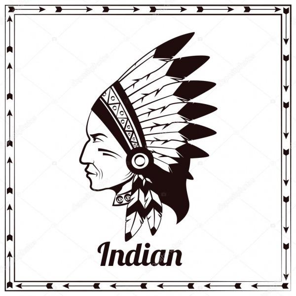 Desenho De índio Americano Cacique Negro — Vetores De Stock