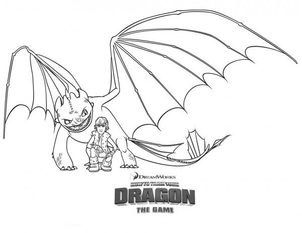 Desenho De Dragão Banguela Protegendo Soluço Para Colorir