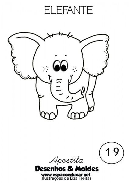Desenho De Elefante Fofo E Lindo Para Colorir, Pintar, Imprimir