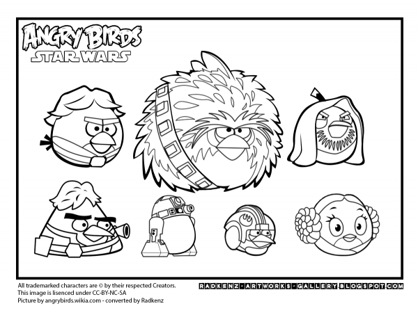 Angry Birds Star Wars Color Pages