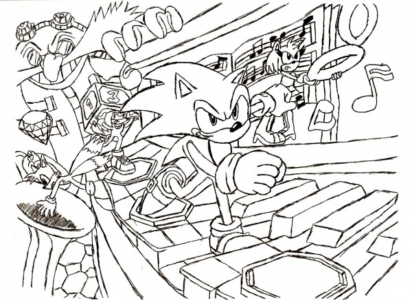 Desenho De Game Sonic Para Colorir