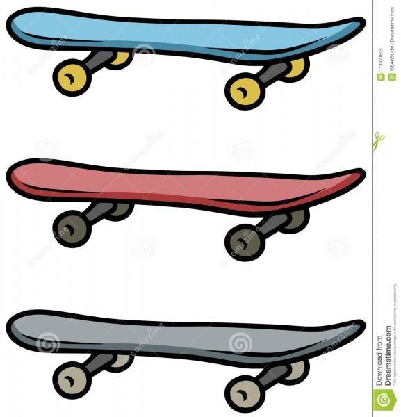 Grupo Colorido Desenhos Animados Do ícone Do Vetor Do Skate
