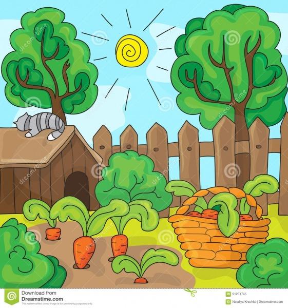 Jardim Com Cenouras, Ilustração Dos Desenhos Animados Do Vetor