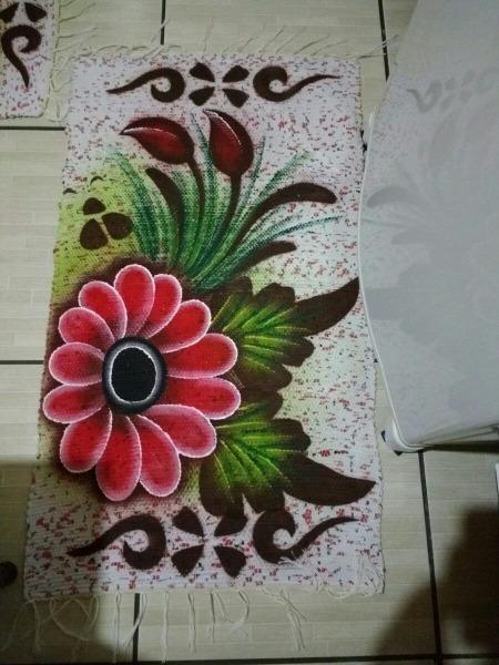 Jogo De Cozinha ,estampa Em Pintura De Flor