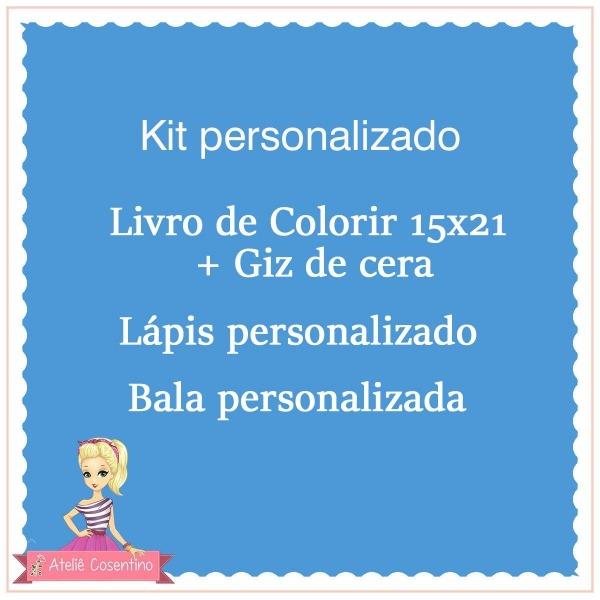 Kit Livro Colorir Giz De Cera Bala Lapis