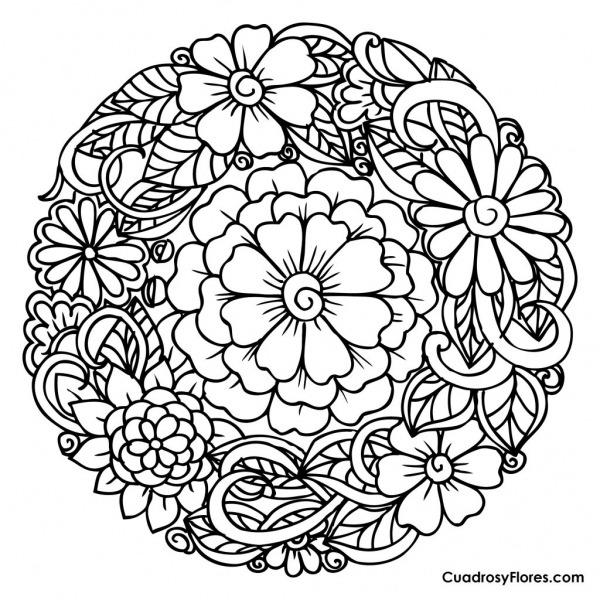 ஜ Imágenes De Flores Para Colorear ஜ Preciosos Mandalas De Flores