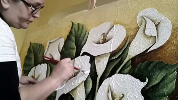 Painting Flower On Canvas With Oil Paint
