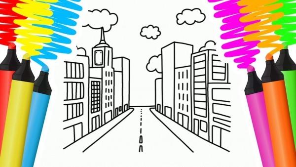 Como Desenhar E Colorir Cidade E MaÇÃ – Pintar E Aprender Para