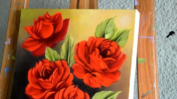 Pintura Em Tela  Rosas E Gotas