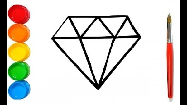 Como Desenhar E Colorir Um Diamante Glitter