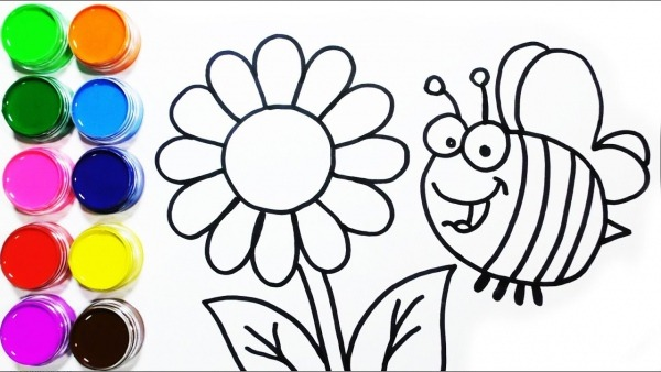 Dibujar Y Colorea Una Abeja Y Un Flor