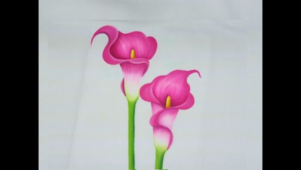 Pintura En Tela Como Pintar Flores Alcatraces Rosas   Painting On