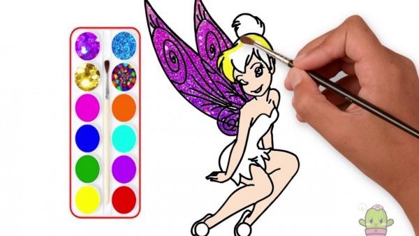 Glitter Tinker Bell Disney Peter Pan Drawing Coloring Como