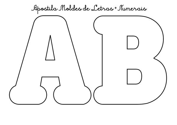 Moldes Do Alfabeto Letras Tamanho MÉdio E NÚmeros Pdf 46 Abc No