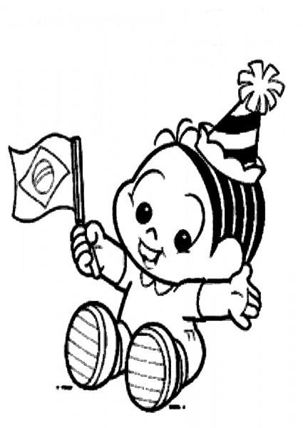 Desenho De Monica Baby E Bandeira Do Brasil Para Colorir