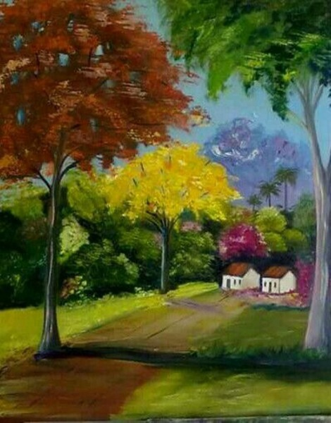 Quadro, Paisagem, Campo, Pintura Em Tela, Ipê Amarelo No Elo7