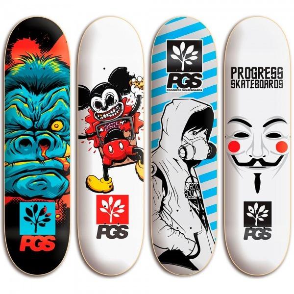 Shape De Skate Pro Vários Tamanhos E Desenhos + Lixa Grátis