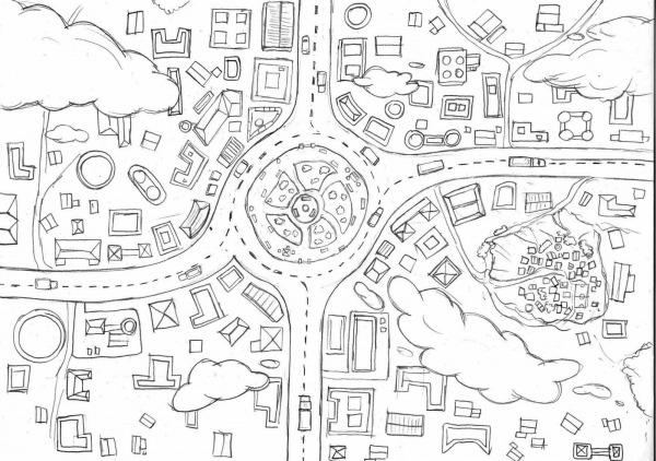 Desenho De Uma Cidade Para Colorir