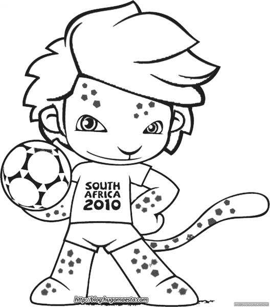 Zakumi Para Colorir  O Mascote Da Copa'10