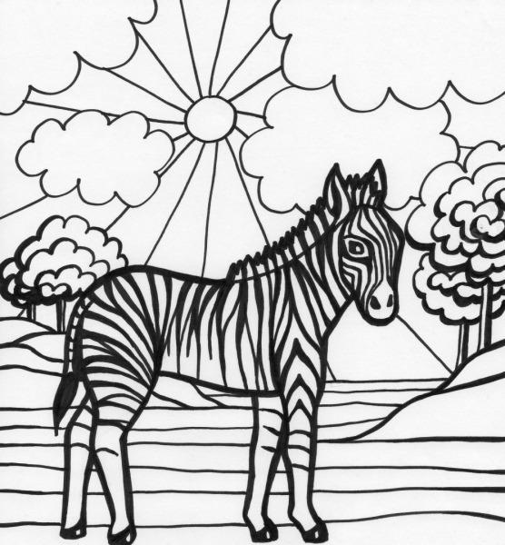 Desenho De Zebra Na Floresta Africana Para Colorir