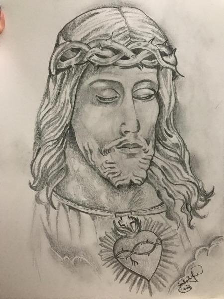 Desenho A Lápis Jesus Cristo Com Coração E Coroa De Espinhos Em