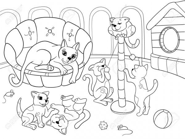 Família Dos Desenhos Animados Do Livro Para Colorir Das Crianças