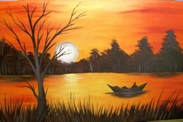 Pintura Em Tela Por Do Sol Passo A Passo