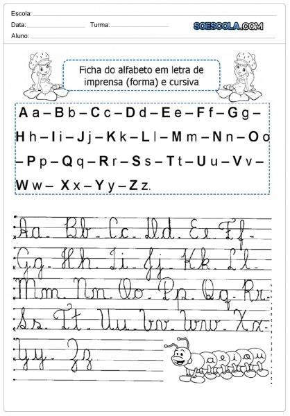 Alfabeto Cursivo Maiúsculo E Minusculo Para Imprimir