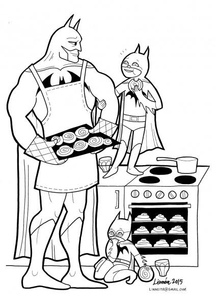 Desenho De Batman Preparando Comida Para Colorir