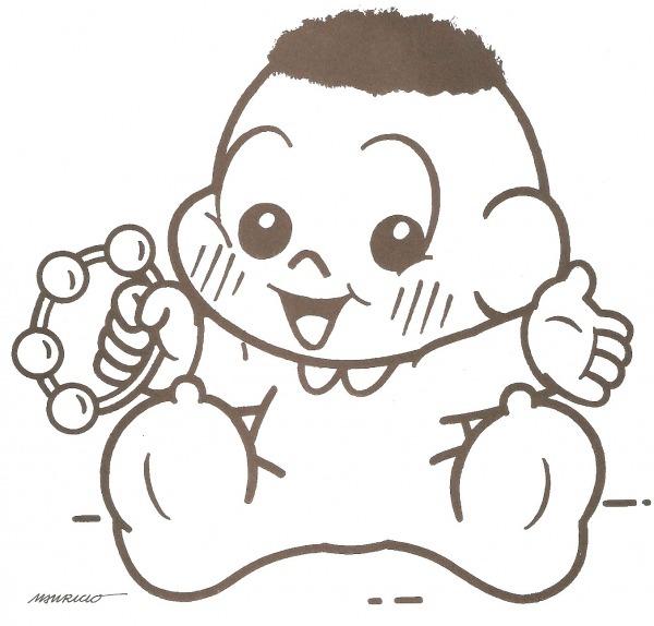 Desenho De Cascão Bebê Com Chocalho Para Colorir