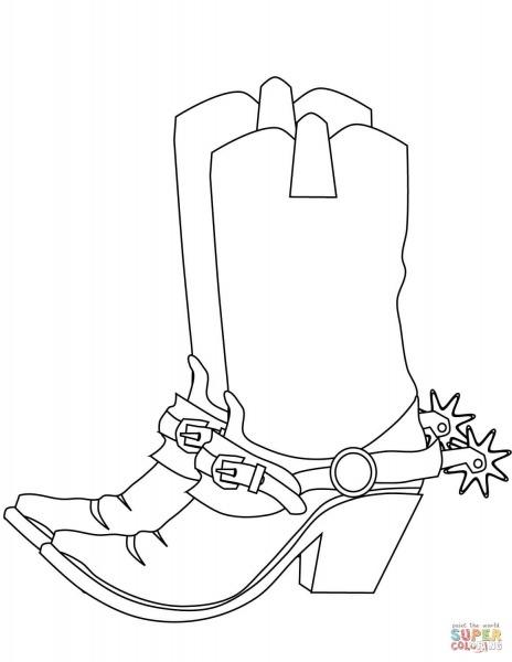Desenho De Botas De Caubói Para Colorir