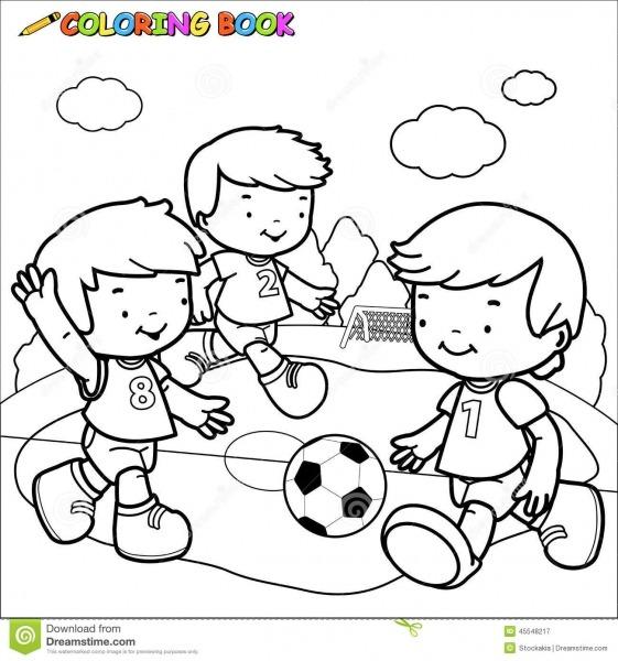 Crianças Do Futebol Do Livro Para Colorir Ilustração Do Vetor