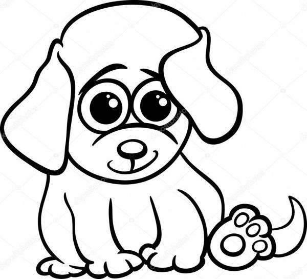 Bebê Cachorrinho Dos Desenhos Animados Para Colorir Página
