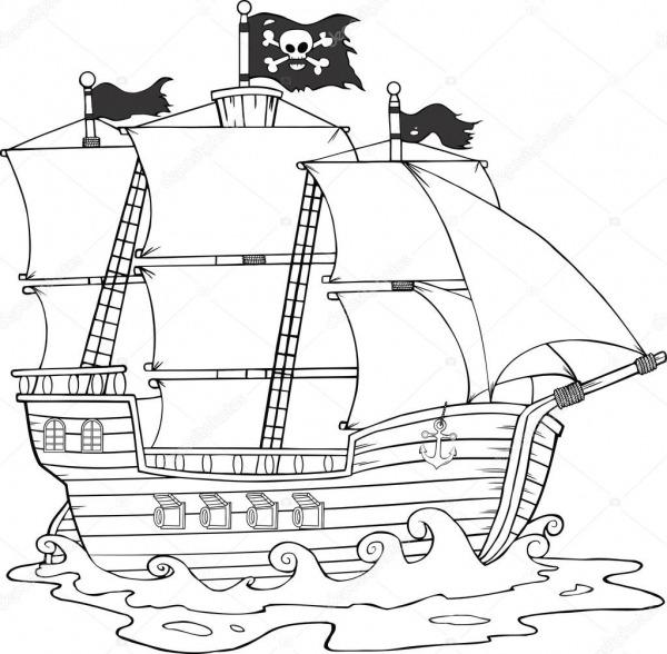 Navio De Pirata Preto E Branco, Navegando Sob Bandeira Jolly Roger