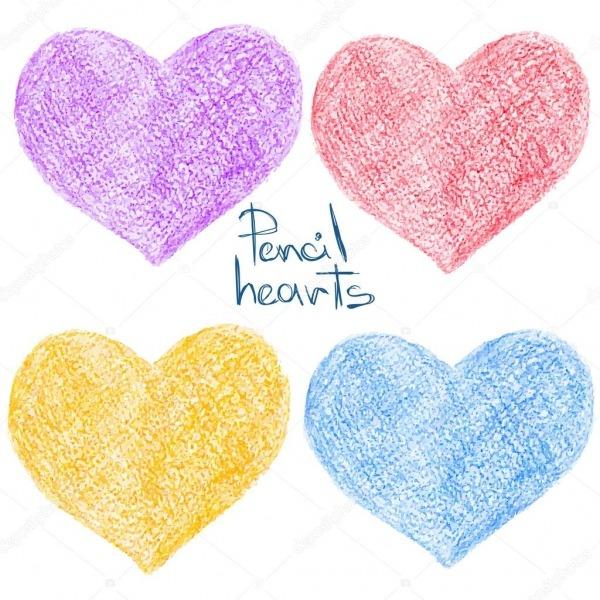 Conjunto De Lápis Colorido Desenho Formas De Coração — Vetores De