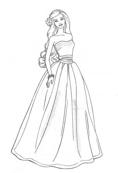 Desenho De Vestido De Noiva Para Colorir – Free Coloring Pages