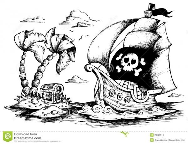 Desenho Do Navio De Pirata 1 Ilustração Do Vetor