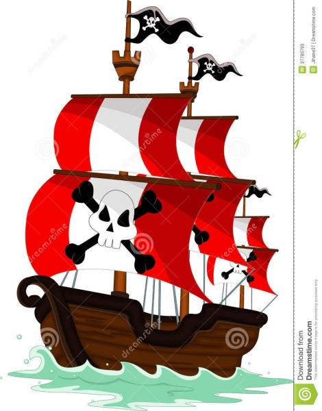 Desenhos Animados Do Navio De Pirata Ilustração Stock