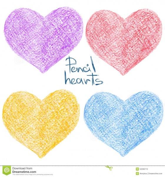 Grupo De Formas Coloridas Do Coração Do Desenho De Lápis
