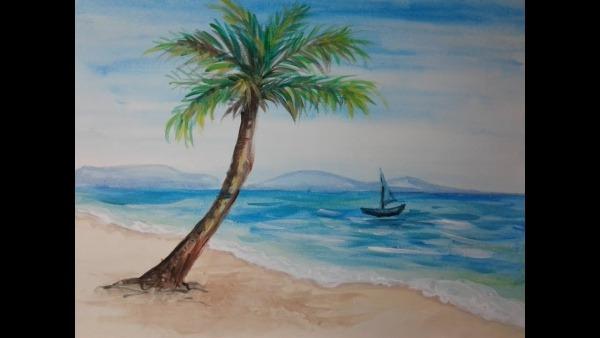 Pintando Uma Paisagem De Praia