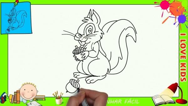Como Desenhar Um Esquilo Facil Passo A Passo Para Crianças E
