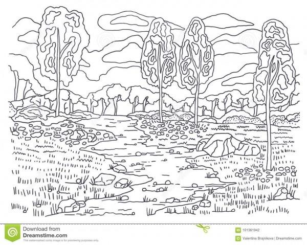 Molde Para Colorir Coloração Do Outono Pintura De Paisagem Árvores