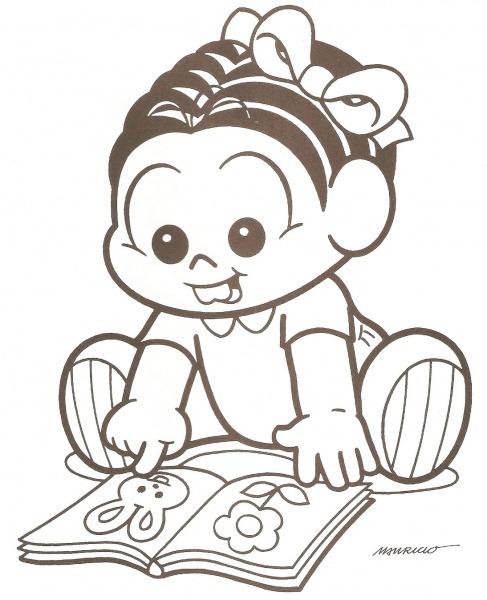 Desenho De Monica Bebê Lendo Um Livro Para Colorir