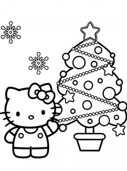 Desenho De Natal Da Hello Kitty Para Colorir