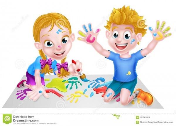 Pintura Das Crianças Dos Desenhos Animados Ilustração Do Vetor