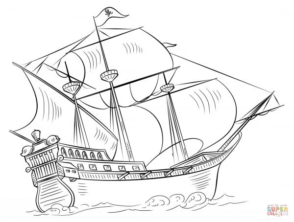 Desenho De Navio Pirata Para Colorir