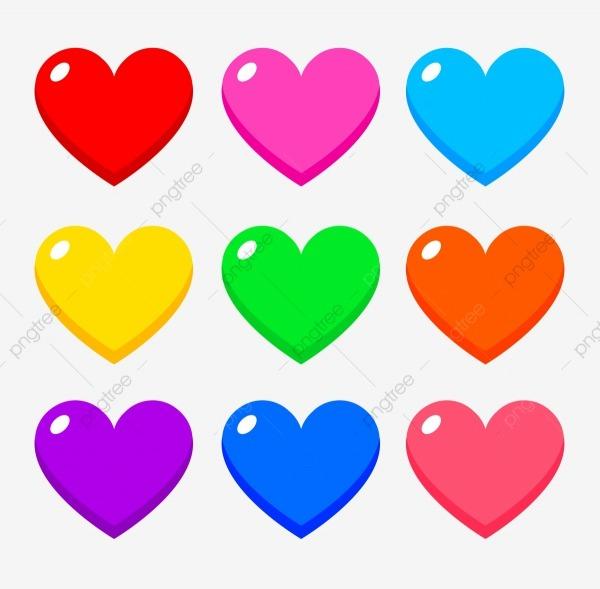 Corações Coloridos, Azul, Desenho De Coração, Cor Arquivo Png E